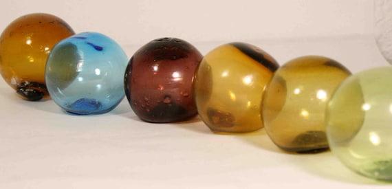 Six Vintage Hand Blown Glass Balls Japanese Fishing Floats