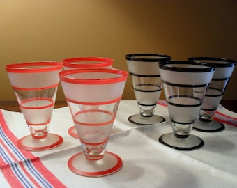 Six Vintage Frosted Cordial Aperitif Glasses Red and Black Stripe