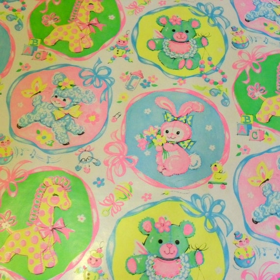 Large Roll of  Vintage Baby Shower Gift Wrap