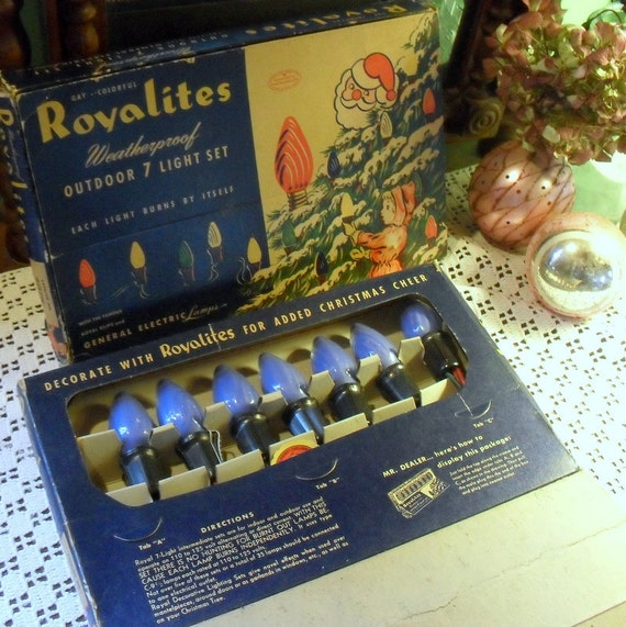 2 Boxes Vintage 1940s 1950s Outdoor Christmas Lights with Blue Swirl Bulbs Great vintage Advertising Boxes