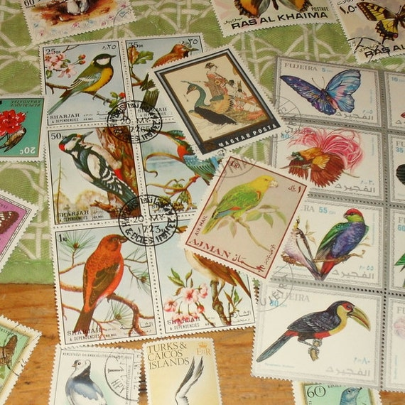 Vintage 1970s Foreign Bird and Butterfly Postal Stamp Kit