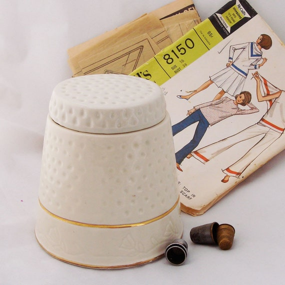 Thimble Shaped Ceramic Jar - Great for Sewing Storage - SALE
