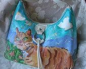 Cat Purse with tassel, Oil paint on recycled white purse