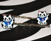 Japanese Welcome Cat Maneki Neko Bobby Pins