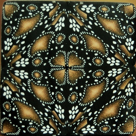Black, White, and Gold Square Kaleidoscope Polymer Clay Cane