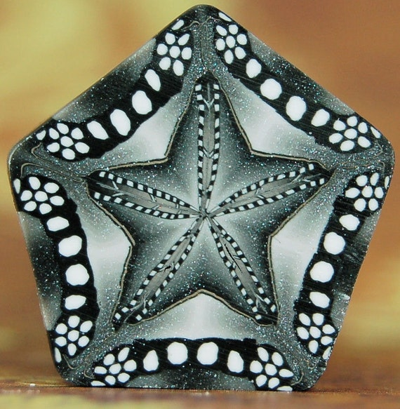Polymer Clay Kaleidoscope Cane -  Black, White, and Silver Star
