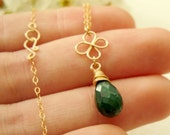May birthstone - Genuine emerald briolette necklace with gold four leaf - 14k gold filled shamrock and green emerald