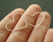 "Tiny heart hoop earrings - sterling silver, almost seamless 3/4"" hearts - Made to order"