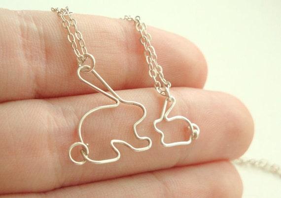 items similar to mother daughter bunny rabbit necklace set. Black Bedroom Furniture Sets. Home Design Ideas