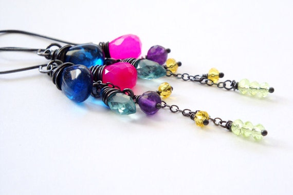 Neon gemstone cluster earrings in black oxidized sterling silver - Blue quartz, aqua apatite, hot pink chalcedony, and purple amethyst