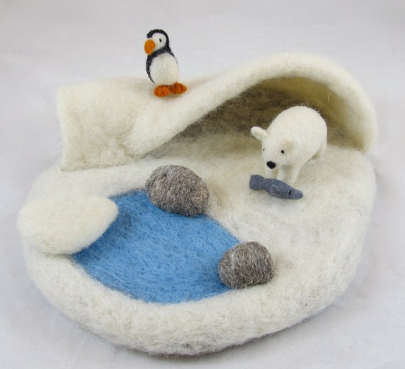 Arctic Needle Felted Play Mat - READY TO SHIP