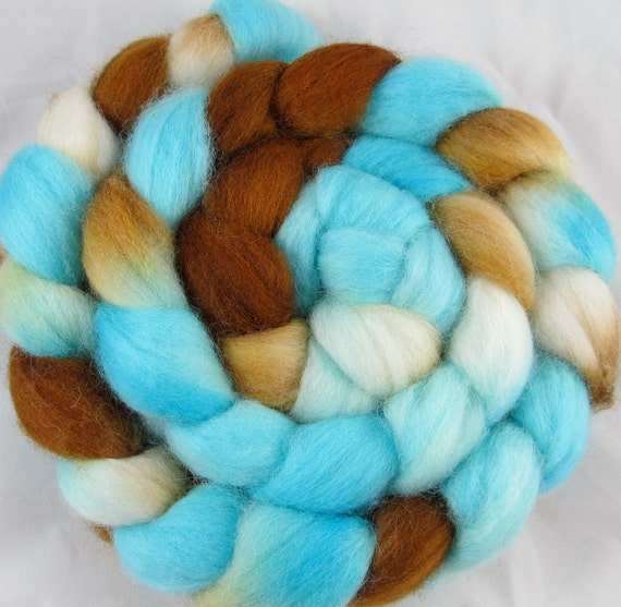 Falklands Hand Painted Wool Roving - Seascape