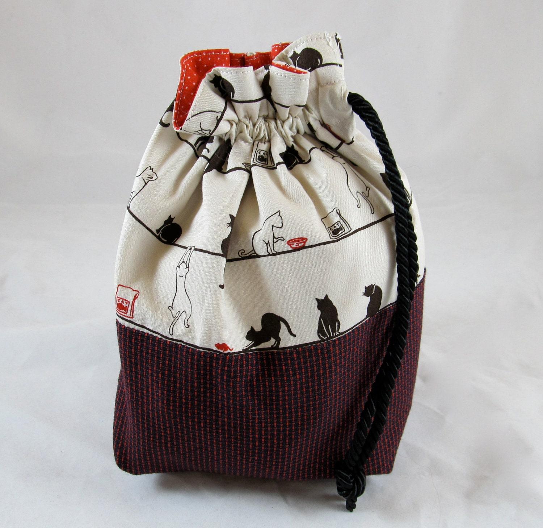 knitting project bag cat print
