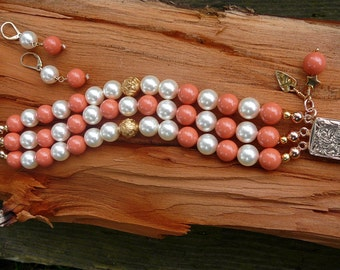 Coral and Pearl 3-Strand Bracelet with Matching Earrings