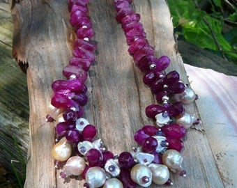 RUBY MOONSTONE AND PLUM CHALCEDONY CHOKER