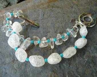 Abalone and Quartz Crystal Bracelet