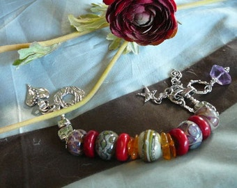 Lampwork Bead and Coral Bracelet with Sterling Silver