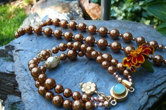 Bronze Swarovski Pearl 2-Strand Bracelet