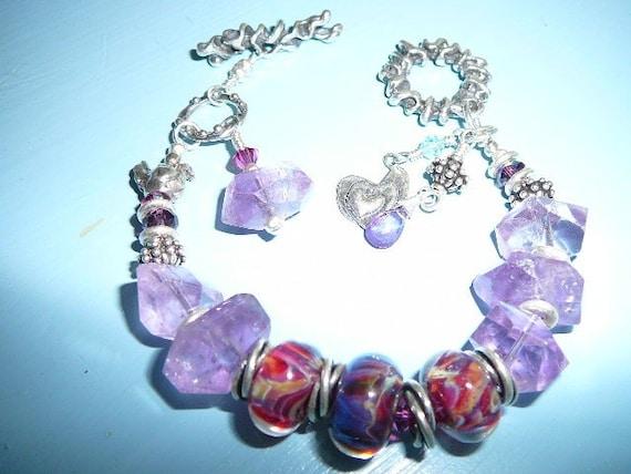 Purple Rock Candy Bracelet with Matching Earrings
