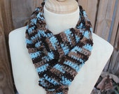 SALE Scarf Perfect Gift Warm Blue Brown Simple Yarn thick yarn