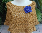 Capelet Poncho Beautiful Yellow Gold made with Wool Blend Yarn With Blue Felt Flower-    Rich Color