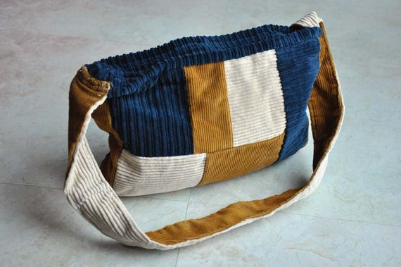 blue, gold, and white corduroy patchwork purse with zipper ON SALE