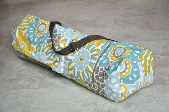Yoga mat bag, beautiful white, yellow, blue and brown floral BOHO yoga bag with zipper, pockets, and adjustable strap, unique yoga tote bag