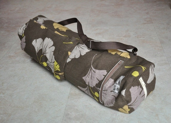 yoga and pilates mat bag -- brown, gold, mauve and green floral, leaf pattern with zipper and adjustable strap