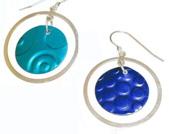 2 pair for the price of 1 sterling silver/recycled aluminum earrings in blue and Aqua
