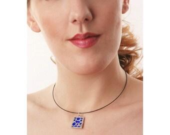 Medium Square Blue Bubble pendant