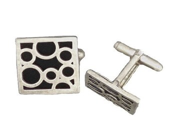 Cuff Links of Black Bubbles for Birthdays, or Fathers Day
