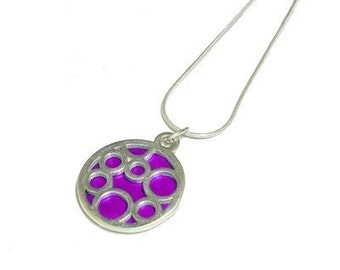 Small Round Fuchsia Bubble pendant