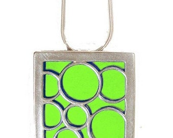 recycled aluminum\/silver Lime Large square bubble pendant