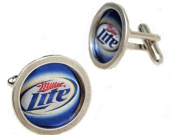 Recycled  Bottle Cap/ Sterling Silver cuff links
