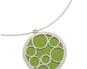 Sterling Bubble Pendant with recycled aluminum in Lime