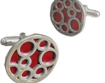 Father's Day Gift Round sterling silver Red bubble cufflinks