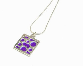 Small Square Purple Bubble pendant