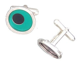 Two Tone Silver/recycled aluminum cufflinks aqua and jet