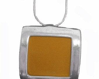 recycled aluminum/silver Orange square pendant