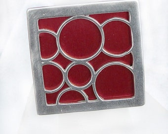 Super Size square bubble ring in Red