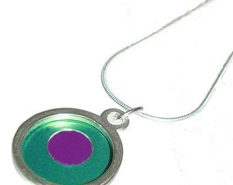 Small Two Tone round teal/fuchsia Pendant