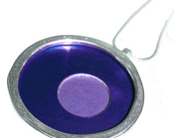 Sterling Silver Large Round Pendant in Two Tones On ETSY