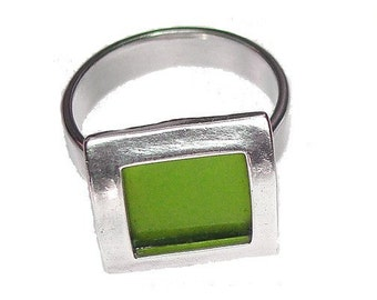 small square recycled aluminum/silver ring