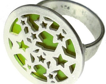STARS ring of recycled aluminum/sterling silver in Lime