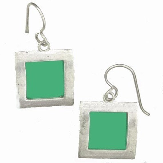 recycled aluminum/silver Aqua square earrings
