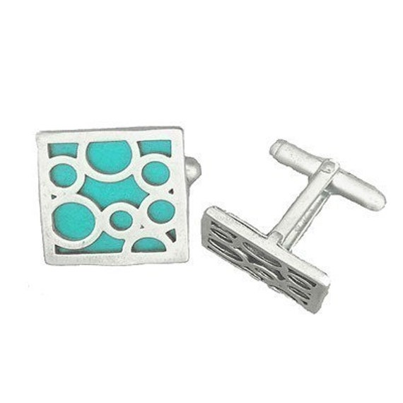 Square sterling silver AQUA bubble cufflinks