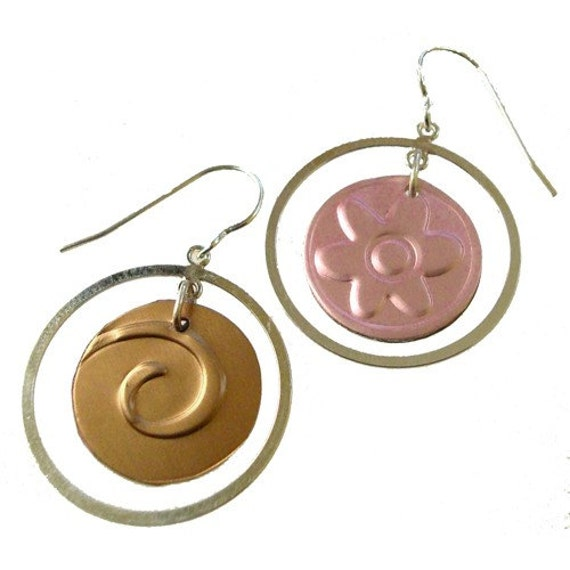 2 pair for the price of 1 sterling silver\/recycled aluminum earrings in Pink and Tan