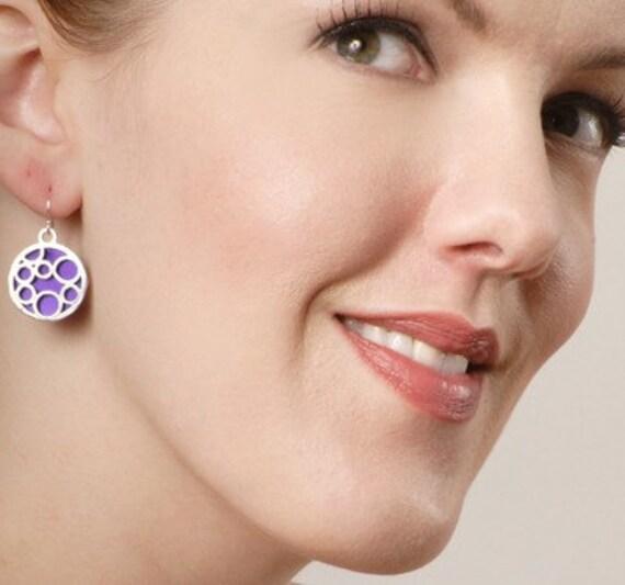 Medium round bubble earrings in Purple