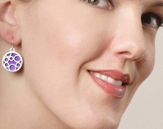 Medium round bubble earrings in Purple