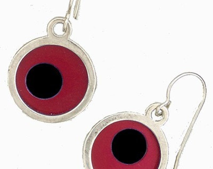 Small Two Tone red\/black Earrings
